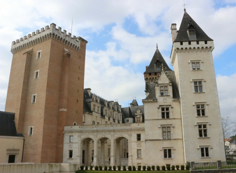 chateau of pau view of stone and brick towers