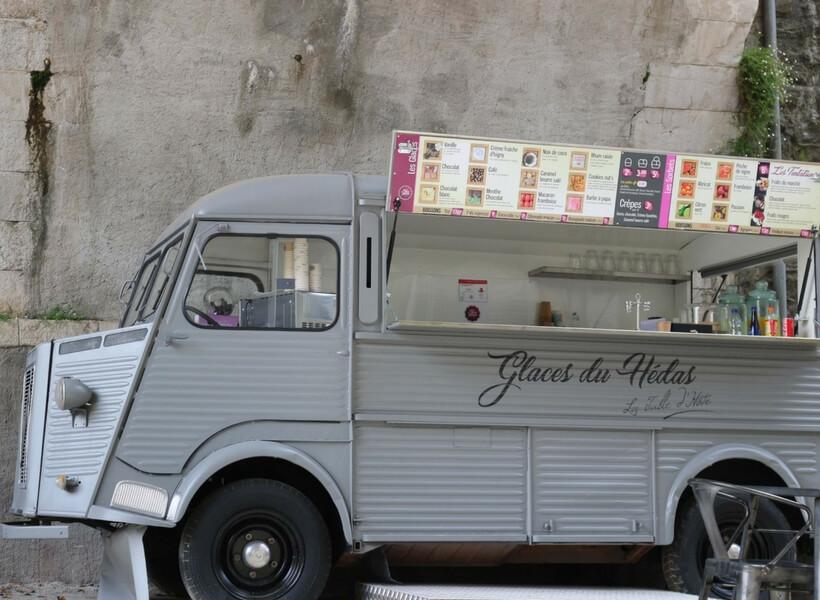 ice cream truck made out an old Citroen truck