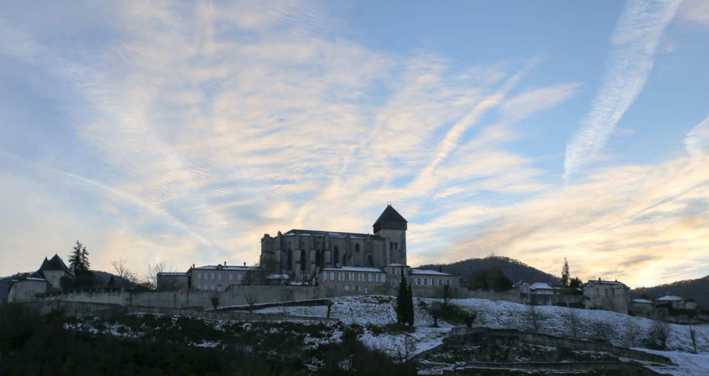 saint bertrand de comminges cathedral at sunset