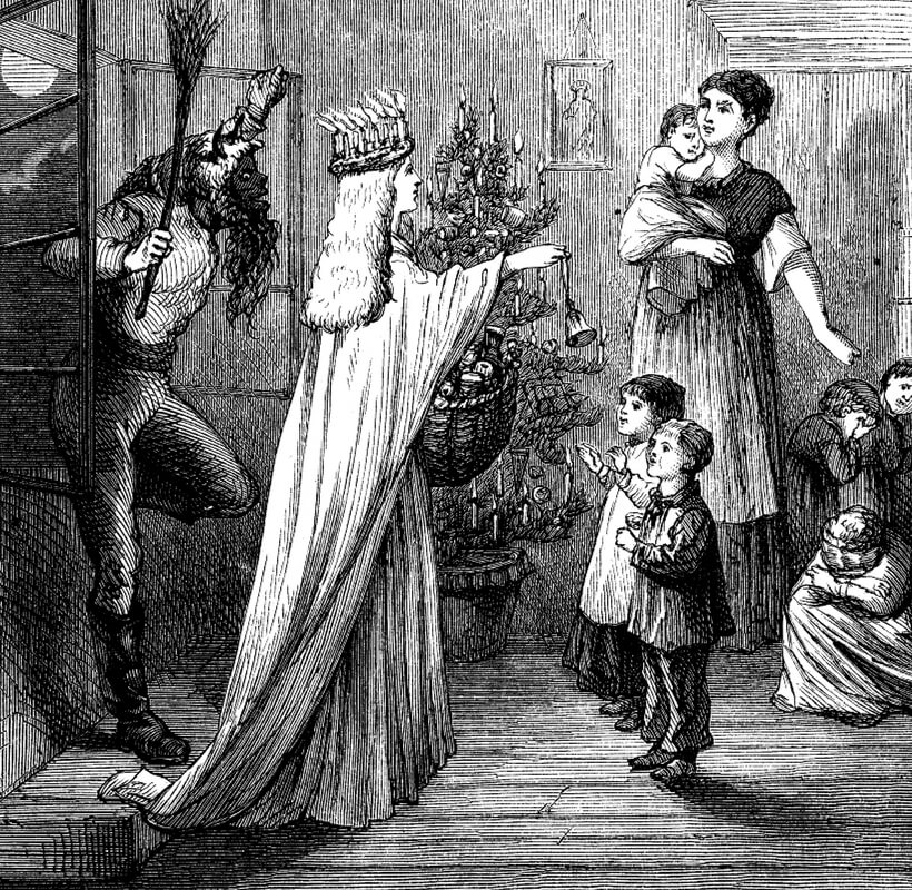 old representation of ChristKindl that shows a young teen giving gifts to children, their mother and and a devil standing behind ChristKindl