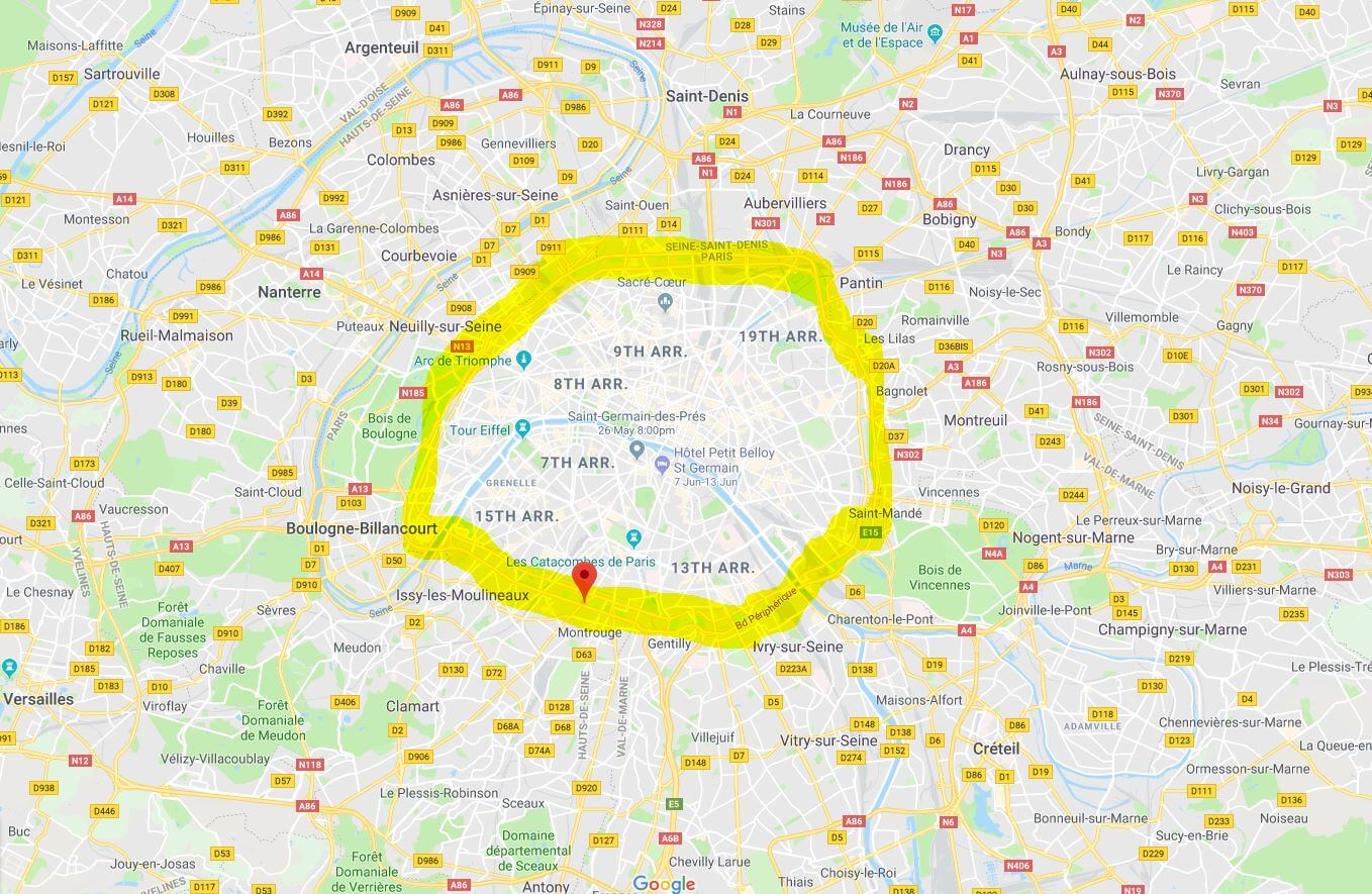 map that shows the ring road around Paris