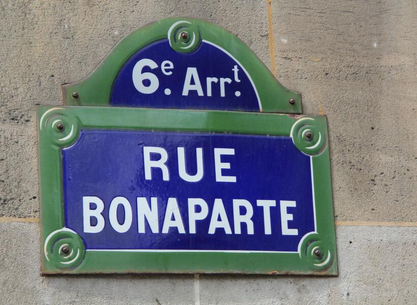 Saint Germain des Pres neighborhood in Paris, panneau de la rue Bonaparte