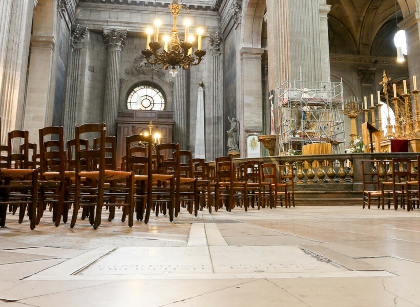 The gnomon at the Saint Sulpice church