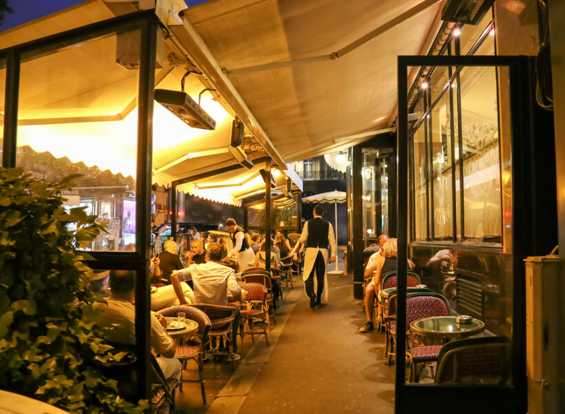 café in the saint-germain-des-près neighborhood, shows a covered terrace