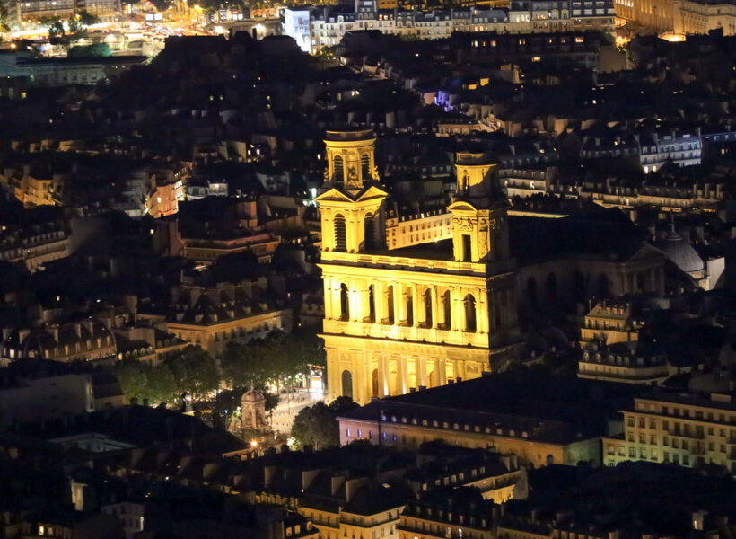 Saint Sulpice Church at night seen from a distance