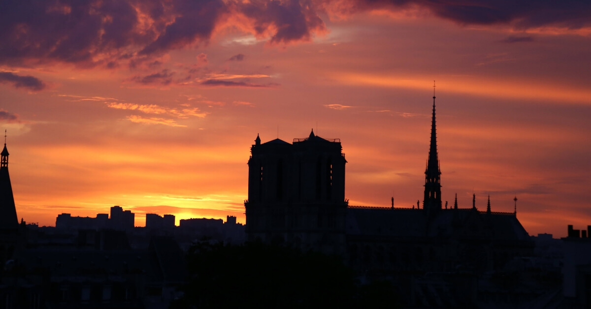 Sunset over Notre Dame de Paris: vibe of paris neighborhoods