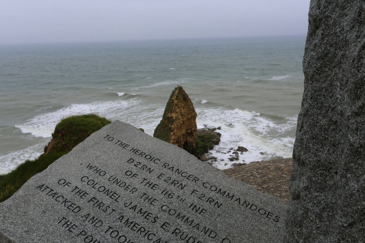 operation overlord: historical marker at the Pointe du Hoc