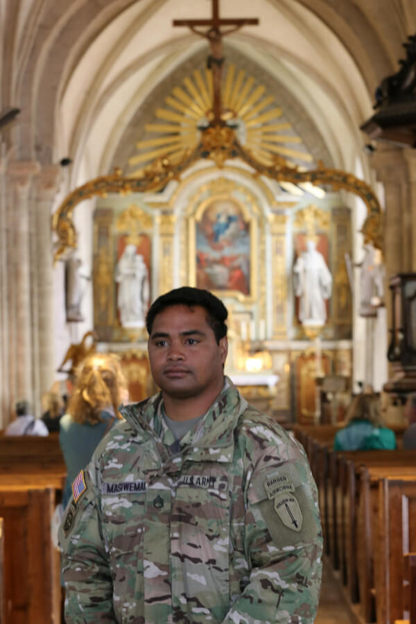 American soldier visiting Sainte-Mère-Église for D-Day 2018