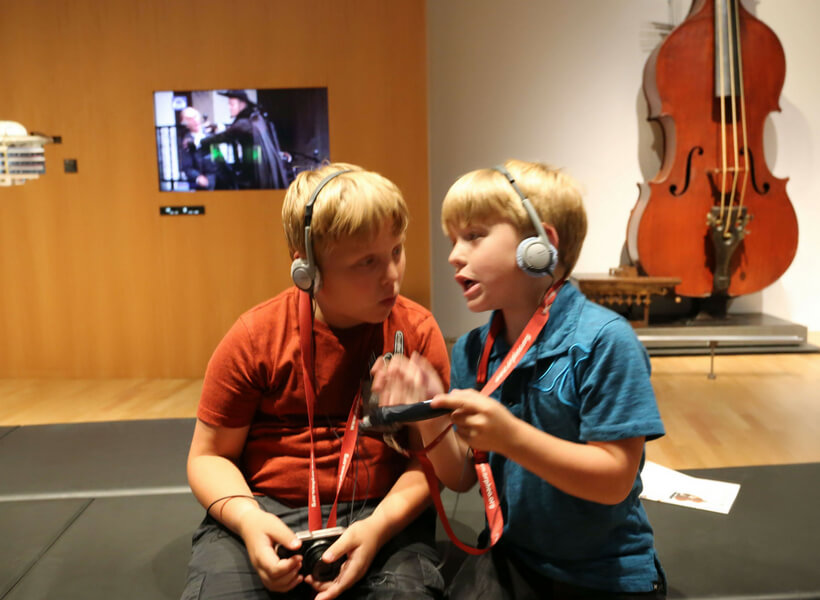 Luke and Max at the Music Museum