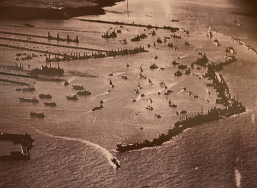 The artificial harbor at Arromanches-les-Bains that was setup for Operation Overlord