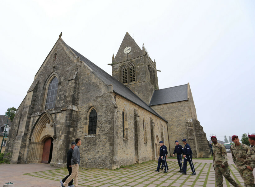The exterior of the Sainte-Mère-Église church