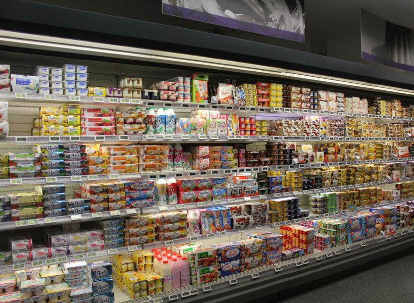 the yogurt isle at a french grocery store: french food