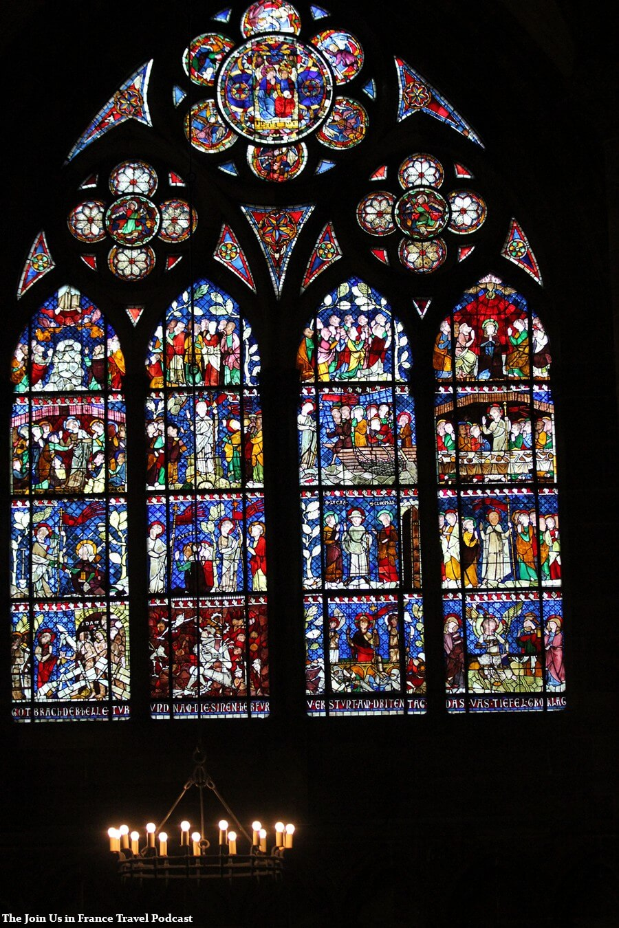 Stained glass window inside of the Strasbourg Cathedral