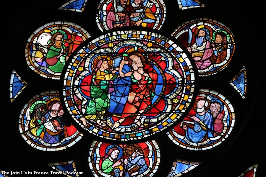 Detail inside of the Strasbourg Cathedral, rose window showing an unidentified biblical scene