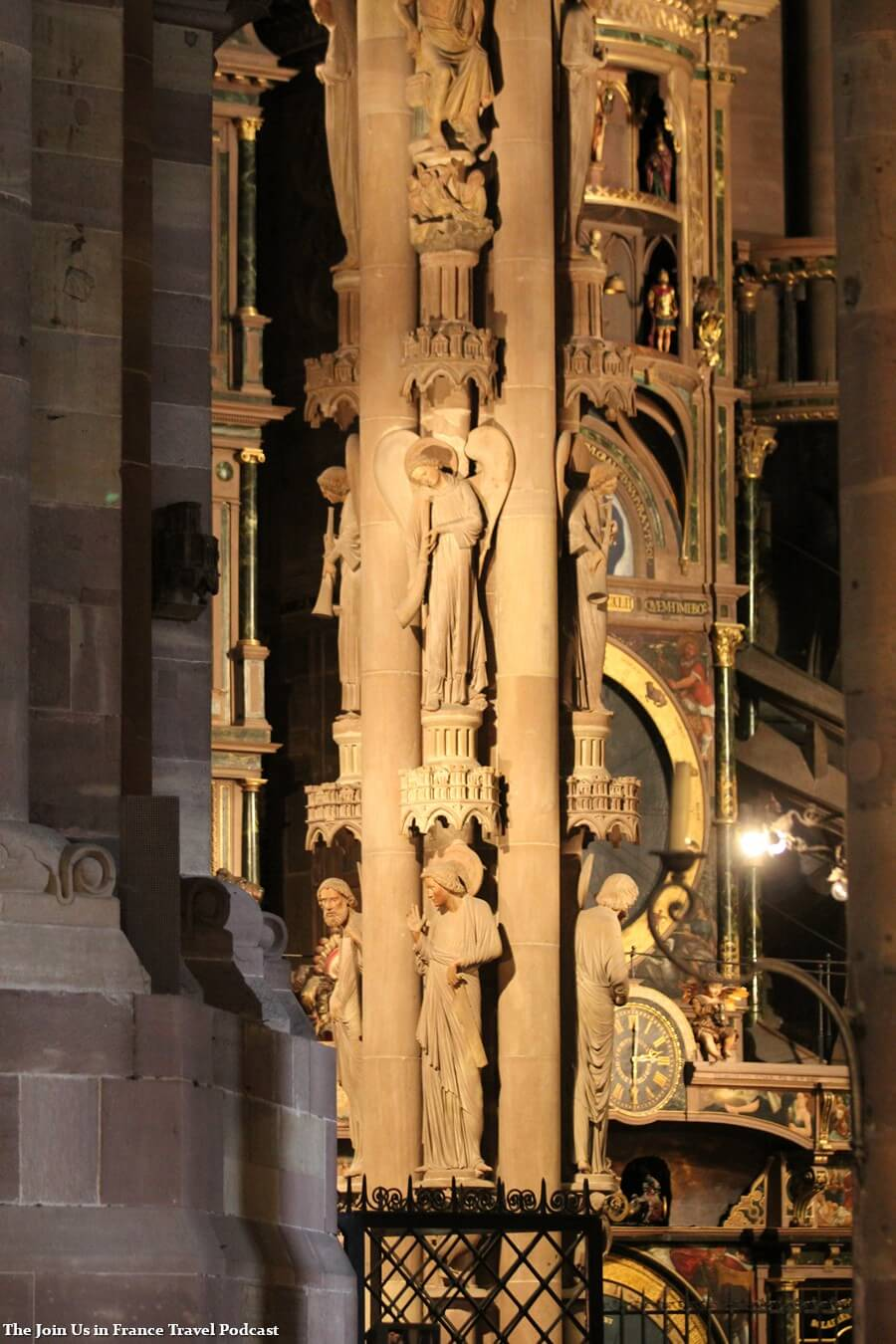 Detail inside of the Strasbourg Cathedral, a heavily decorated pillar