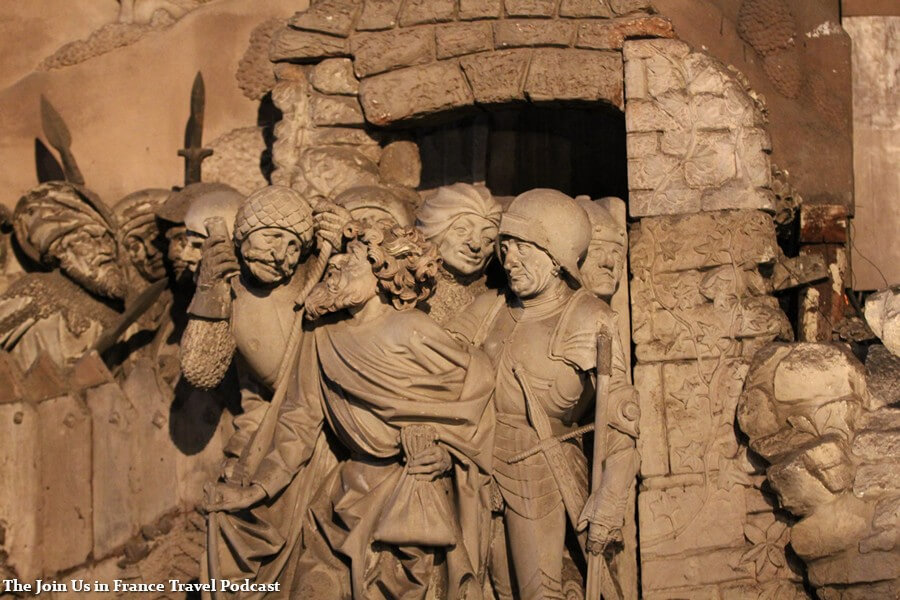 Detail inside of the Strasbourg Cathedral, a scene of medieval war