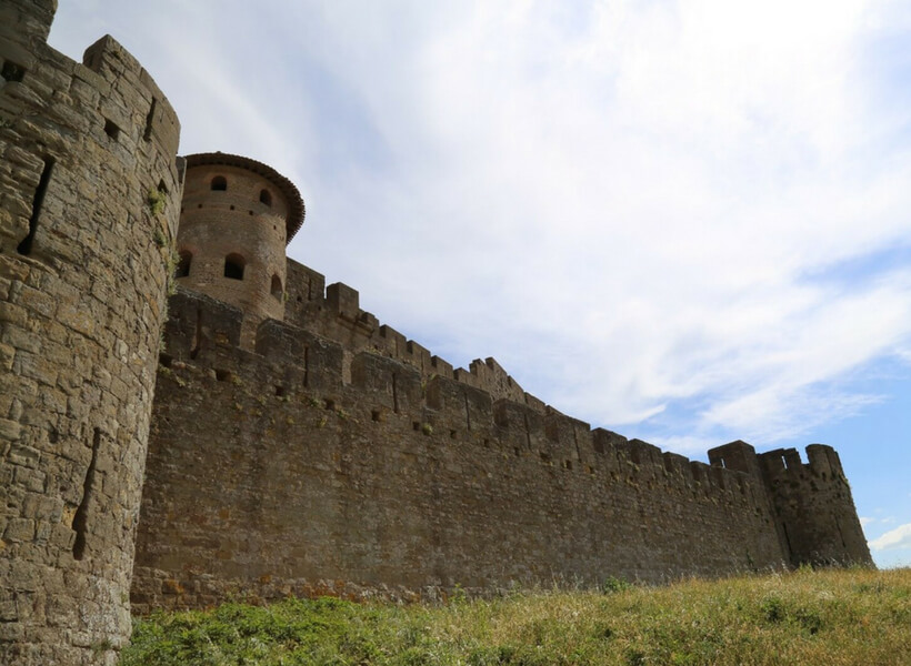 the walls of carcassonne seen from outside the walls