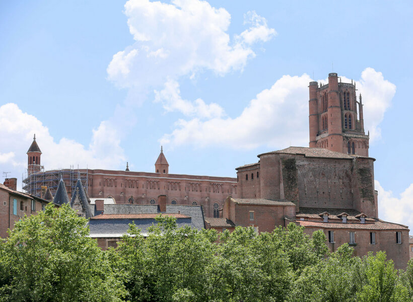 the massive brick cathedral in Albi