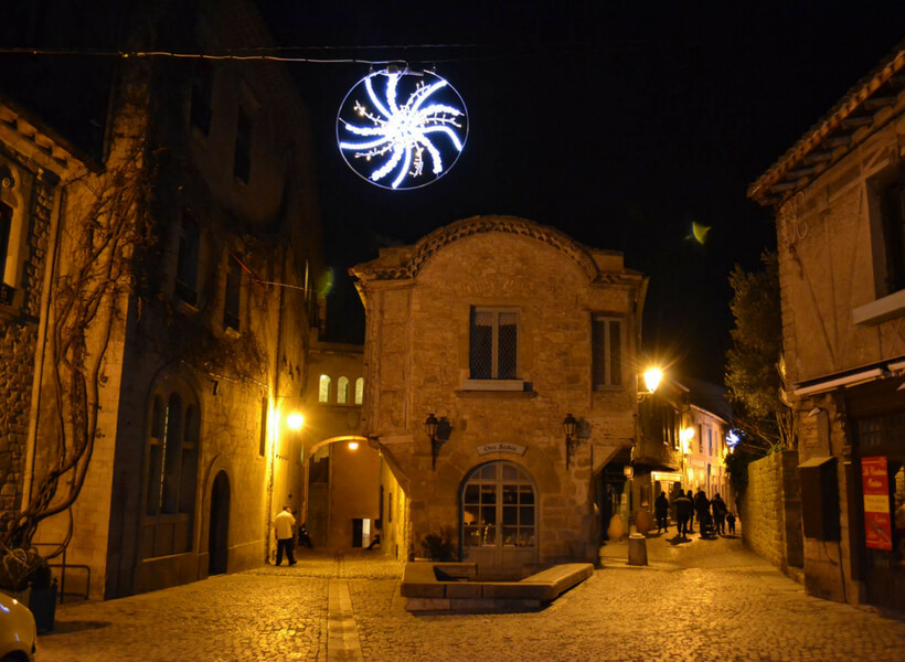 the streets of carcassonne france at night