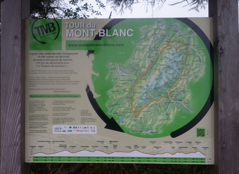 map that shows the tour du mont blanc