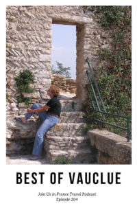 Mary-Lou sitting on stone stairs in the Vaucluse