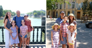 Two photos of Sarah and her family on vacation in France
