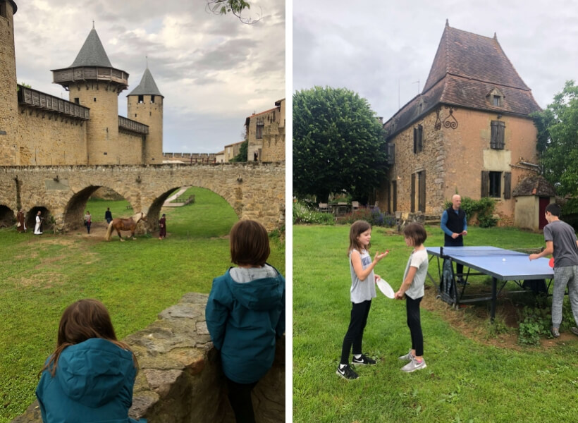 sarah's daughters in Carcassonne and the 3 children and their father playing pingpong
