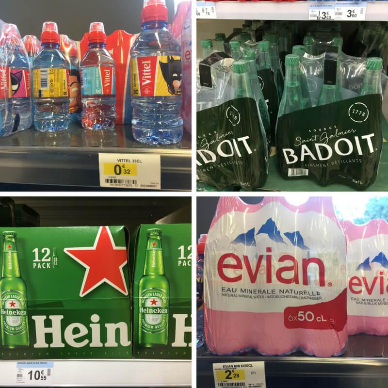 vitel water, badoit water, Heineken beer, evian water