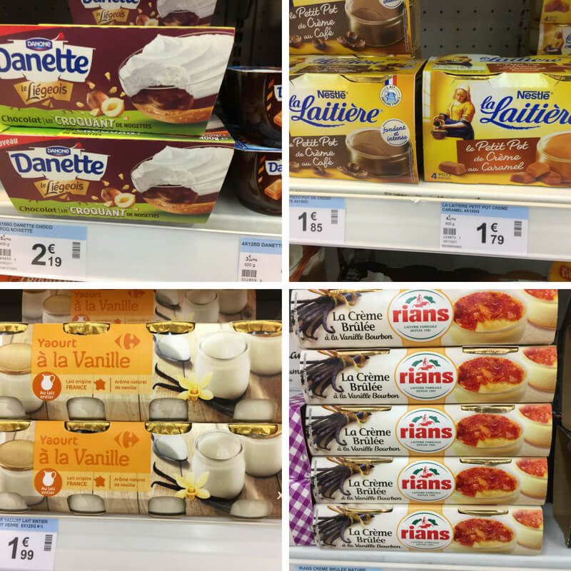 different types of yogurt at french grocery stores