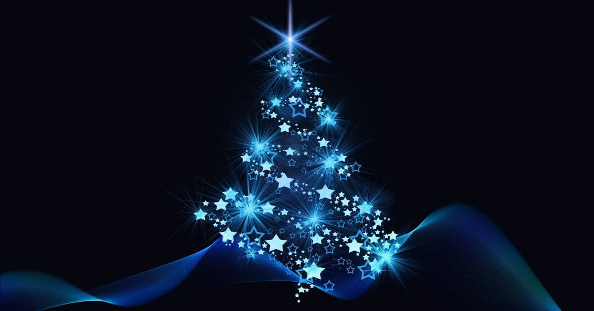 christmas tree made of lights on a blue backgroud: French Christmas Songs episode