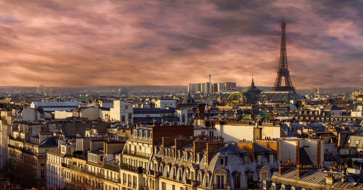 Paris seen from the rooftops with dramatic sky