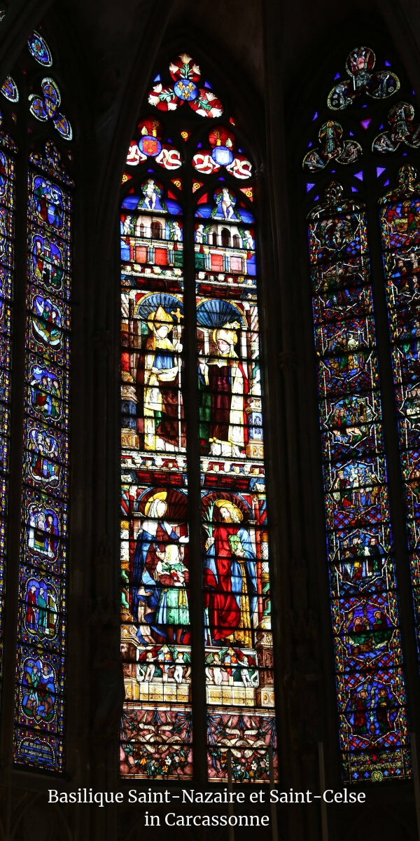 Stained-glass at the Basilique Saint-Nazaire et Saint-Celse in Carcassonne