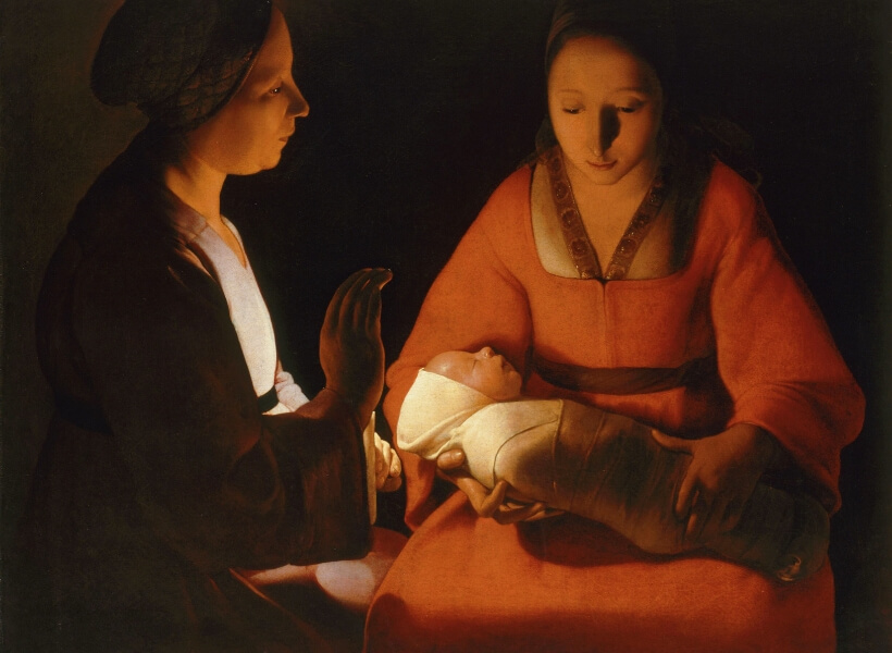 Painting by Georges de la Tour that shows two women surrounding a baby