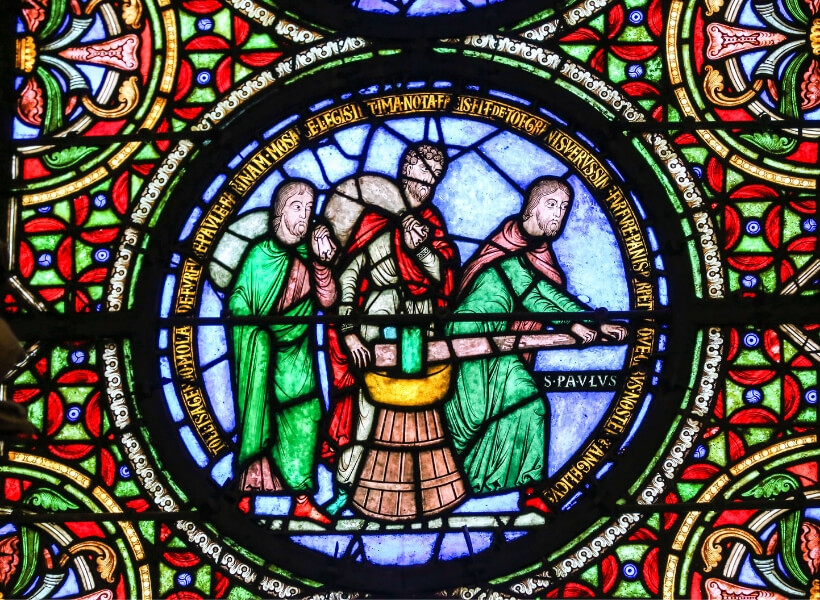 some of the stained-glass windows at the Saint-Denis basilica
