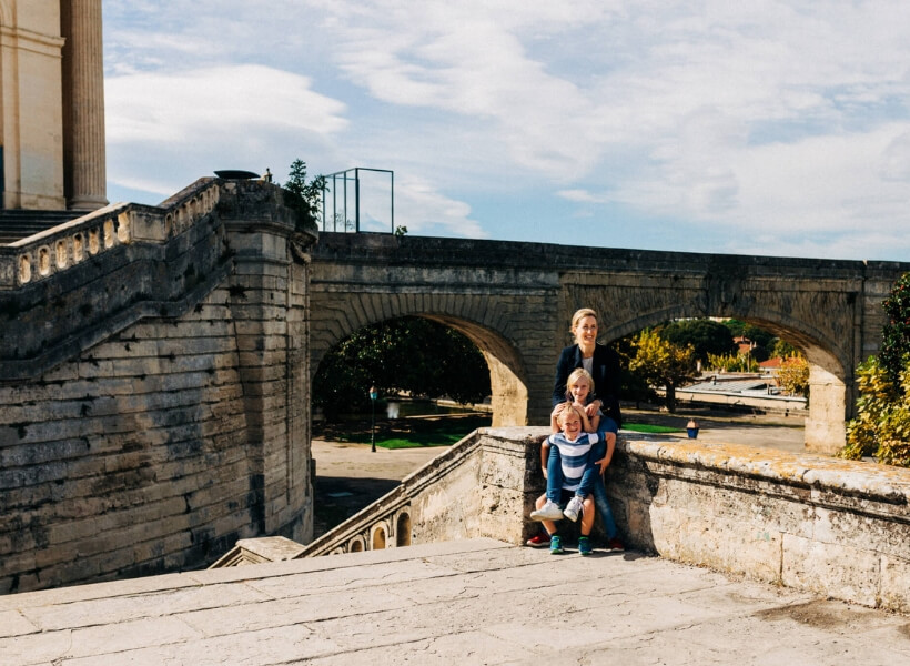 Jessica and her children in Montpellier: Great Destinations in France for Families episode