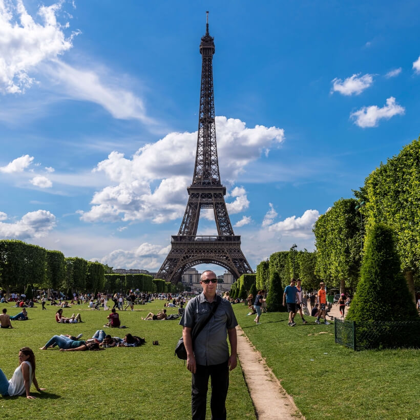 Scott standing in front of the Eiffel Tower: 4 days in Paris episode