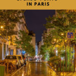 Deserted Paris street at night with cars and trees and wet pavement. 4 days in Paris episode.