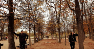 Alt Text: Eric and his wife at the Luxembourg Garden with Autumn Colors