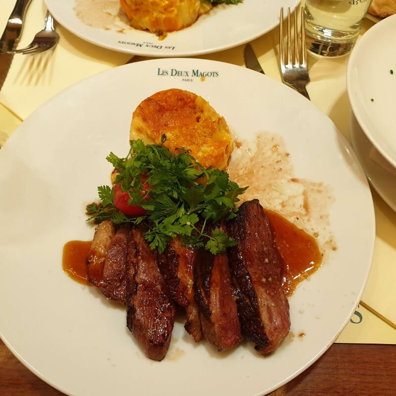 Duck dish at Les Deux Magots Restaurant
