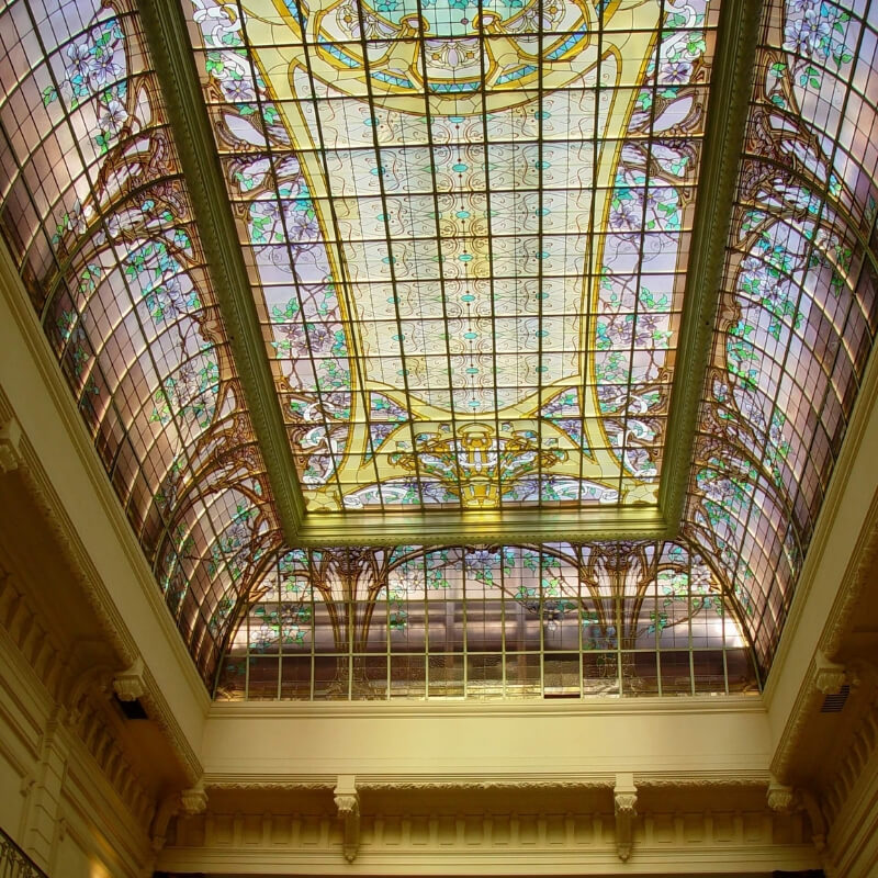 Art Nouveau Glass Ceiling in the city of Nancy at the Crédit Lyonnais