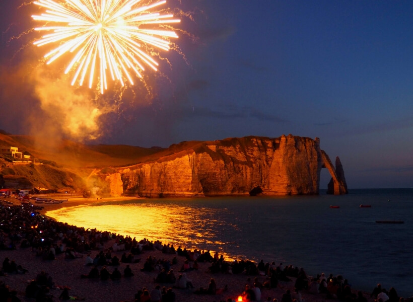 July 13th fireworks over the cliffs of Etretat in Normandy