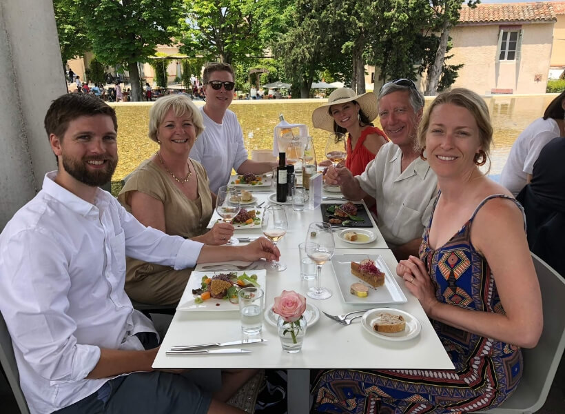 Gillespie family at the dinner table: smart way to visit provence guest notes