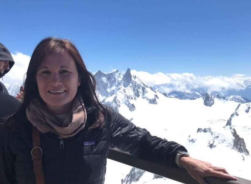 Edie Couvillon at the Aiguille du Midi