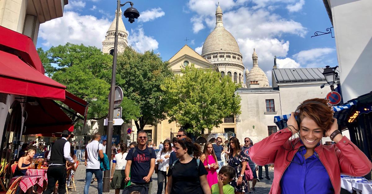Woman enjoying Monmartre audio tour