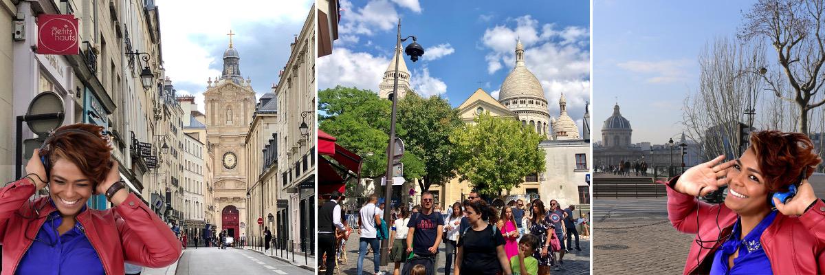 Woman enjoying 3 Paris audio tours
