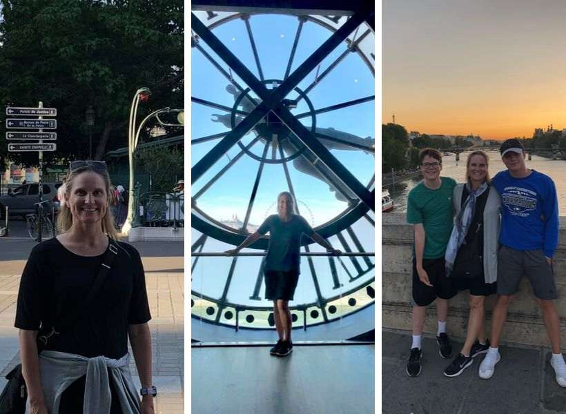 Kristina and her family enjoying France