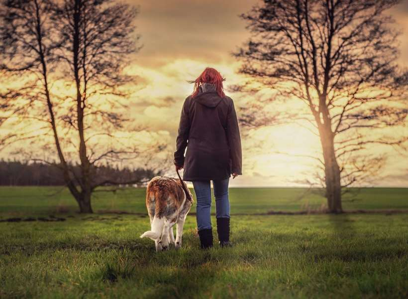 woman walking in nature with her dog while listening to a podcast