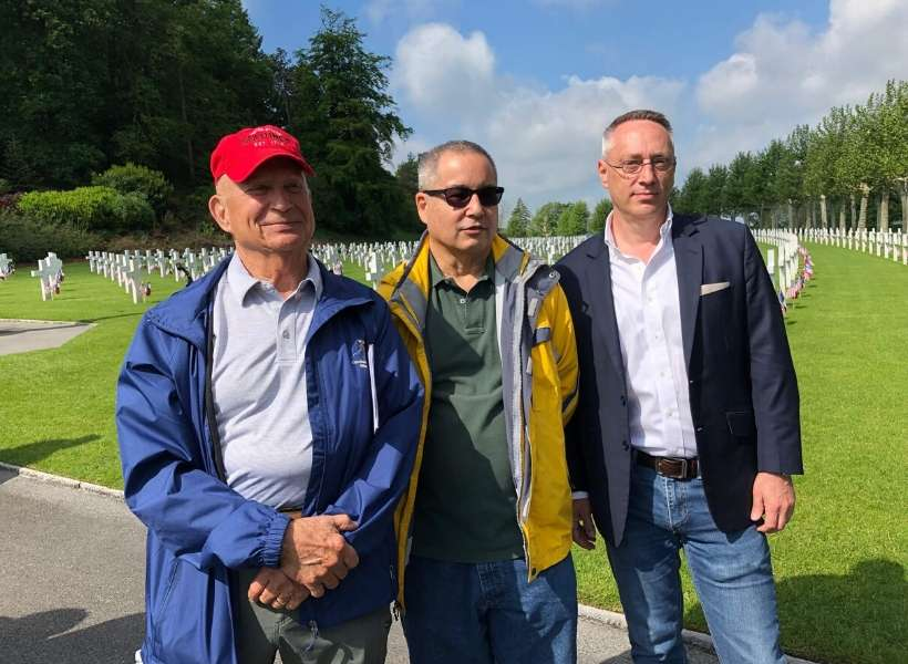 Greg (center) during a visit to Chateau-Thierry