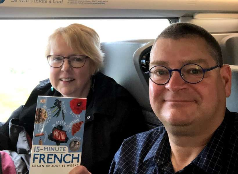 Matthew and his wife Laurie in an airplane: Toulouse trip report episode