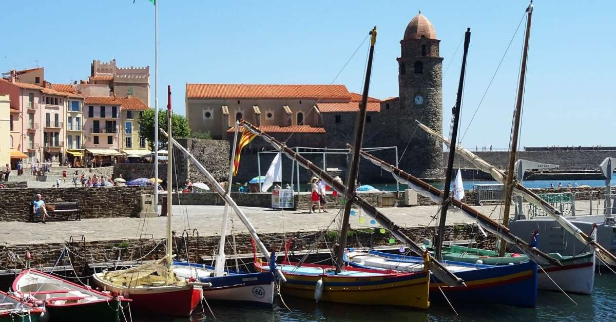 Small boat dock in the village of Collioure